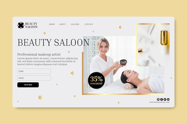 Página inicial do salão de beleza