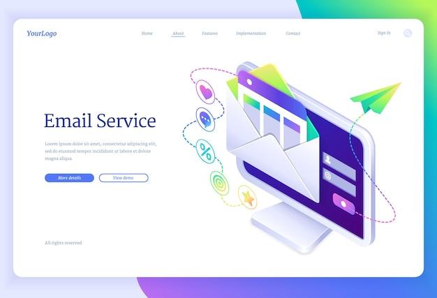 Página inicial do serviço de e-mail em vista isométrica