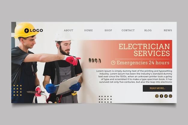 Página inicial do serviço de eletricista