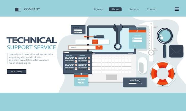 Página inicial do serviço de suporte técnico