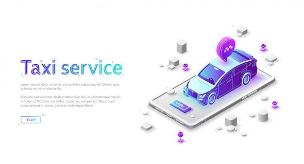 Página inicial do serviço de táxi, carro com pedido on-line
