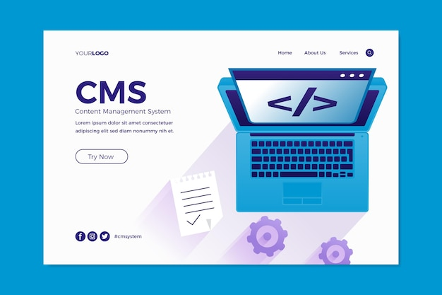 Página inicial do sistema de gerenciamento de conteúdo de design plano