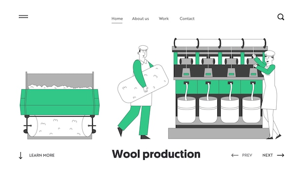 Página inicial do site da indústria têxtil de lã