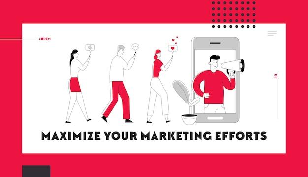 Página inicial do site de mídia social de marketing de influência.