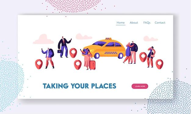 Página inicial do site do serviço de táxi, as pessoas pedem um carro de táxi usando o aplicativo e pegando um carro amarelo na rua. modelo de página de destino do site