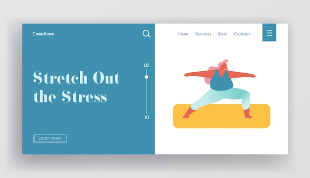 Página inicial do site estilo de vida do esporte saudável mulher com excesso de peso.