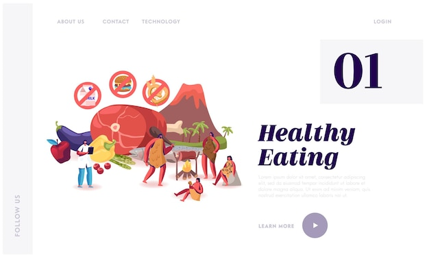 Página inicial do site paleo diet healthy eating.