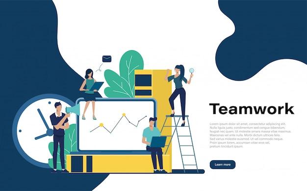 Página inicial do trabalho em equipe com caráter de pessoas.