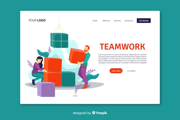 Página inicial do trabalho em equipe com design plano