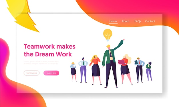 Página inicial do trabalho em equipe do grupo de negócios criativos.