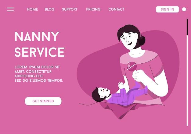 Página inicial do vetor do conceito de serviço de babá