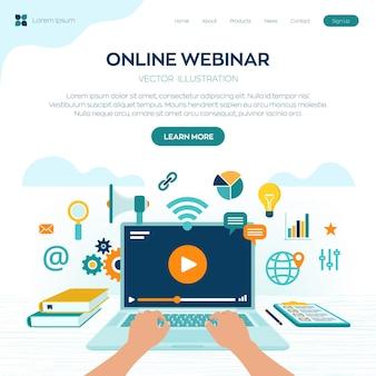 Página inicial do webinar. conferência pela internet. seminário baseado na web. ensino à distância. conceito de negócio de treinamento de e-learning.