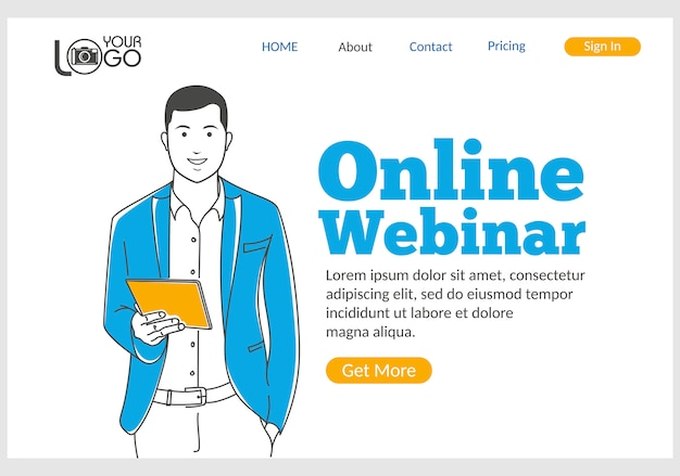 Página inicial do webinar on-line em estilo de linha fina.