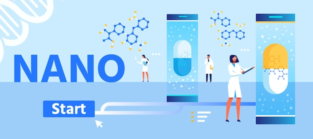 Página inicial dos desenhos animados do desenvolvimento de nano medicamentos