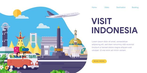 Página inicial dos pontos de referência da indonésia