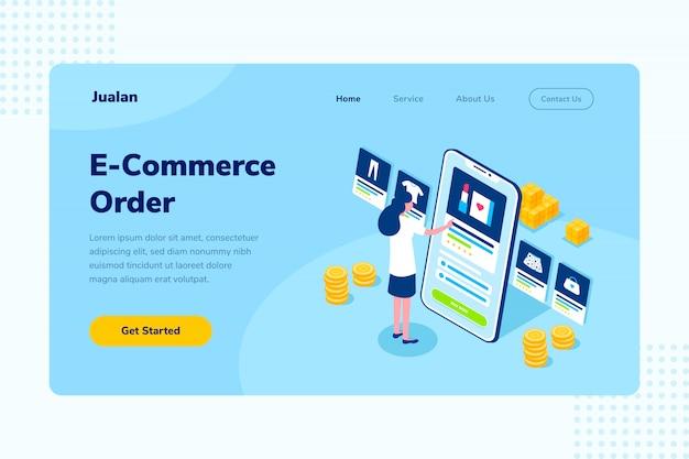 Página inicial e-commerce atendimento ao cliente compras on-line ilustração isométrica