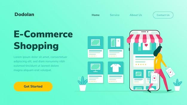 Página inicial e-commerce compras online ilustração plana