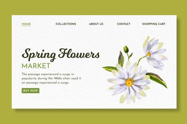 Página inicial em aquarela para a primavera com flores