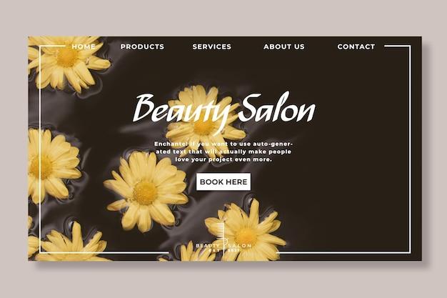 Página inicial floral do salão de beleza