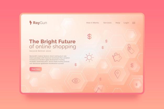 Página inicial futurista de compras on-line