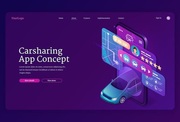Página inicial isométrica do conceito de app carsharing.