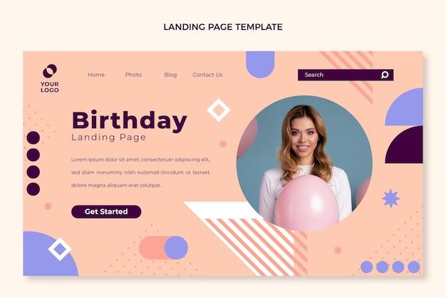 Página inicial mínima de aniversário de design plano