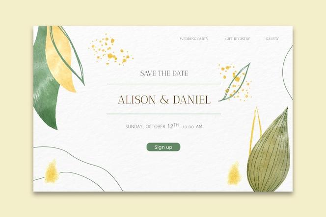 página inicial mínima de casamento