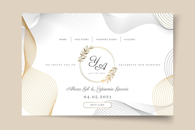 Página inicial mínima do casamento