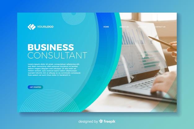 Página inicial minimalista de negócios com foto