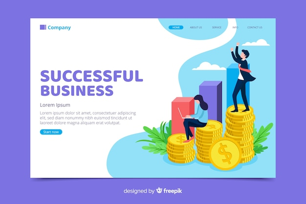 Página inicial minimalista de negócios