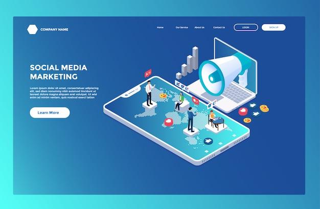 Página inicial ou modelo da web com o tema de marketing de mídia social