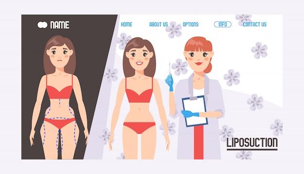 Página inicial ou modelo da web para o conceito de cirurgia plástica. correção de rosto e corpo. consulta com o médico cirurgião. aumento da mama, lipoaspiração, cosmetologia facial e corporal. procedimento de saúde de beleza