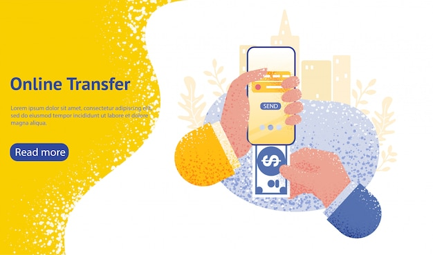 Página inicial ou modelo da web para o conceito de transferência on-line com a mão segurando o smartphone e pressione o botão enviar