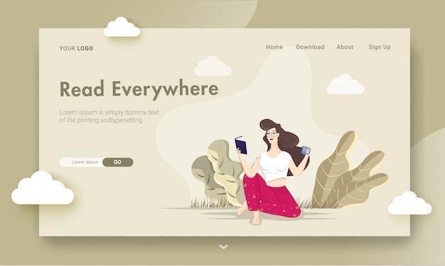 Página inicial ou web banner com jovem lendo um livro com a beber café ou chá na vista da natureza.