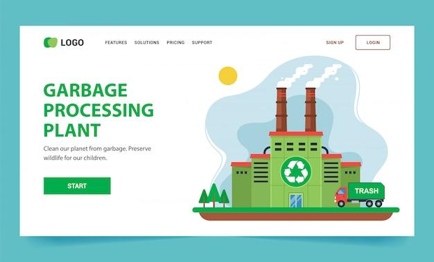Página inicial para reciclagem. planta verde com chaminés e fumaça.