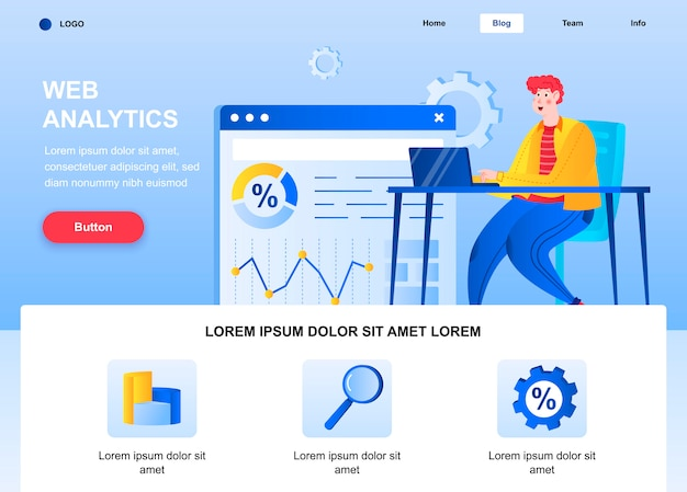 Página inicial plana de análise da web. analista que analisa a página da web de dados.