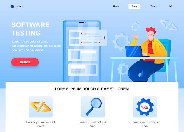 Página inicial plana de teste de software. engenheiro que depura a página da web do aplicativo móvel.