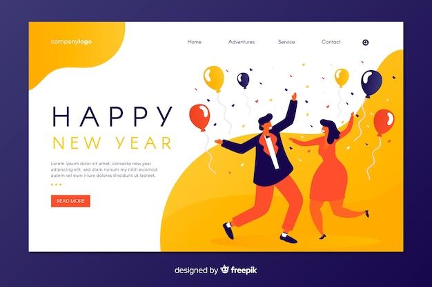 Página inicial plana do ano novo com pessoas dançando
