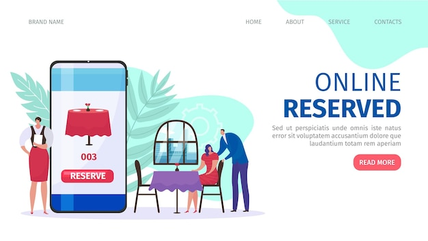 Página inicial plana do serviço de reserva de mesa online Vetor Premium