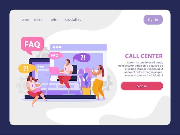 Página inicial plana do serviço de suporte online com operadores de call center respondendo a perguntas