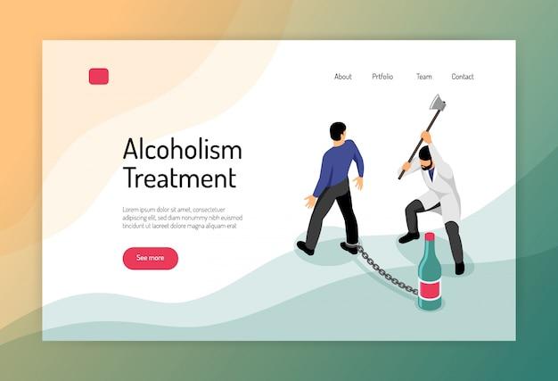 Página isométrica de web de tratamento de alcoolismo com homem acorrentado a garrafa e médico com machado