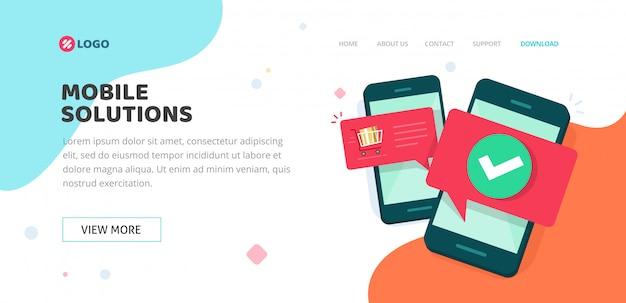 Página móvel de desenvolvimento ou de destino de compras on-line