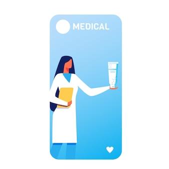 Página móvel médica com mulher segura tubo de creme