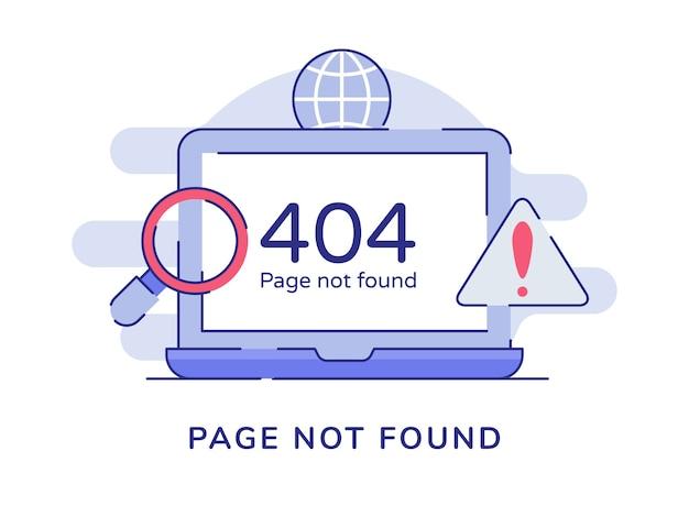 Página não encontrada com aviso número 404 no laptop de exibição