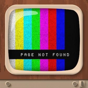 Página não encontrada com linhas retas coloridas na tela da tv retrô
