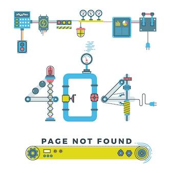 Página não encontrada erro 404 com robôs e máquinas