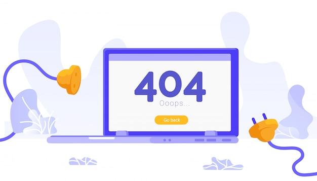 Página não encontrada erro 404. plugue e tomada desconectados.