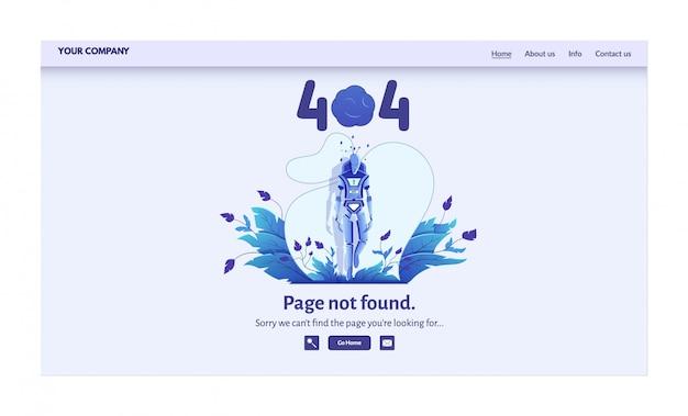Página não encontrada mensagem de erro para ilustração do site. alerta de aviso, problema de conexão de rede, página de destino de falha na pesquisa na internet