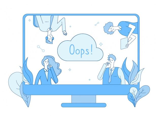 Página não encontrada. página de aviso de erro de rede de computador mensagem de erro perdido não foi encontrada linha do site do problema