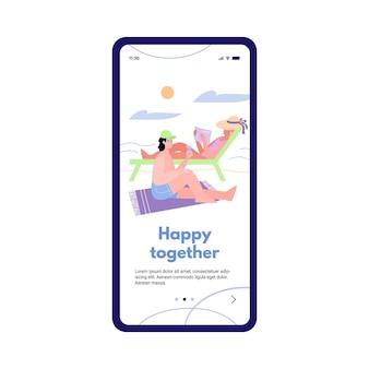 Página para celular com casal no mar feliz juntos cartoon ilustração plana